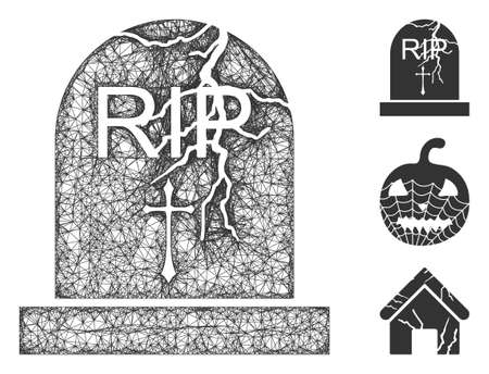 Mesh old grave polygonal web 2d vector illustration. Model is based on old grave flat icon. Triangular network forms abstract old grave flat model.