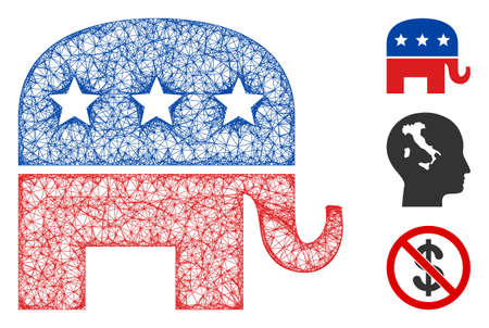 Mesh republican elephant polygonal web 2d vector illustration. Carcass model is based on republican elephant flat icon. Triangular network forms abstract republican elephant flat carcass.