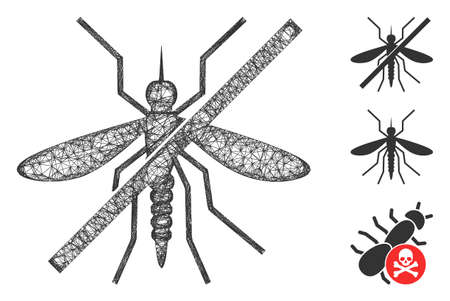 Mesh no mosquito polygonal web icon vector illustration. Carcass model is based on no mosquito flat icon. Triangle mesh forms abstract no mosquito flat model.