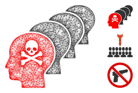 Mesh kill all humans polygonal web icon vector illustration. Carcass model is based on kill all humans flat icon. Triangle mesh forms abstract kill all humans flat carcass.