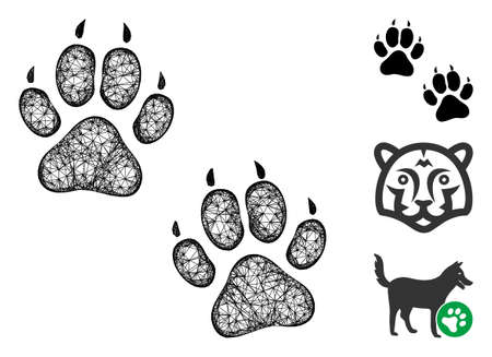 Mesh tiger footprints polygonal web icon vector illustration. Model is created from tiger footprints flat icon. Triangular network forms abstract tiger footprints flat carcass.