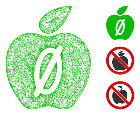 Mesh zero calories apple polygonal web icon vector illustration. Carcass model is based on zero calories apple flat icon. Triangular mesh forms abstract zero calories apple flat carcass.