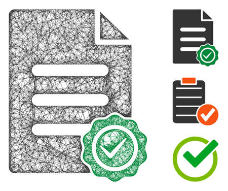Mesh confirmation document polygonal web icon vector illustration. Carcass model is based on confirmation document flat icon. Triangular mesh forms abstract confirmation document flat model. Vektorgrafik