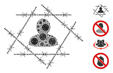 Mosaic barbed wire man constructed from SARS virus icons in different sizes and color hues. Vector pathogen icons are arranged into abstract mosaic barbed wire man icon. Some bonus icons are added.