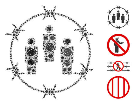 Mosaic barbed wire people organized from flu virus icons in variable sizes and color hues. Vector infection icons are combined into abstract mosaic barbed wire people icon. Some bonus icons are added.