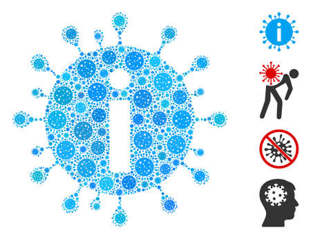 Collage coronavirus info organized from flu virus elements in random sizes and color hues. Vector infection elements are organized into abstract collage coronavirus info icon.