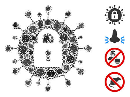 Collage locked coronavirus organized from flu virus icons in random sizes and color hues. Vector viral elements are united into abstract collage locked coronavirus icon. Some bonus icons are added.