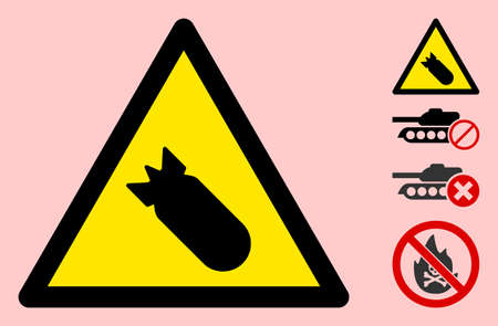 Vector bomb flat warning sign. Triangle icon uses black and yellow colors. Symbol style is a flat bomb hazard sign on a pink background. Icons designed for careful signals, road signs,