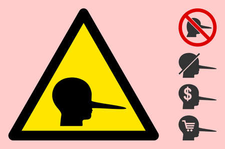 Vector liar flat warning sign. Triangle icon uses black and yellow colors. Attention symbol style is a flat liar icon on a pink background. Designed for problem signals, road signs, safety purposes.