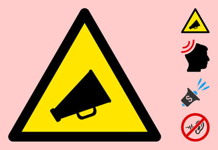 Vector announce flat warning sign. Triangle icon uses black and yellow colors. Symbol style is a flat announce hazard sign on a pink background. Icons designed for careful signals, road signs,  イラスト・ベクター素材