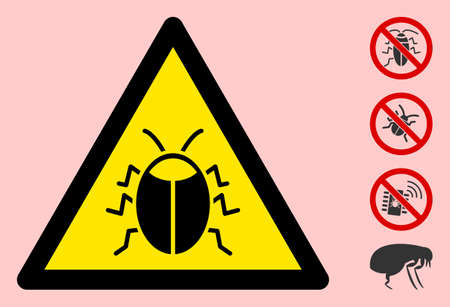 Vector bug flat warning sign. Triangle icon uses black and yellow colors. Symbol style is a flat bug attention sign on a pink background. Icons designed for caution signals, road signs,