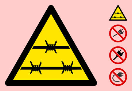 Vector barbed wire flat warning sign. Triangle icon uses black and yellow colors. Symbol style is a flat barbed wire hazard sign on a pink background. Icons designed for caution signals, road signs,