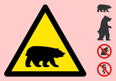 Vector bear flat warning sign. Triangle icon uses black and yellow colors. Symbol style is a flat bear hazard sign on a pink background. Icons designed for problem signals, road signs, safety posters.