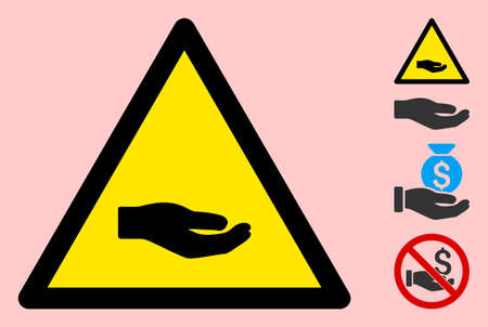 Vector beggar hand flat warning sign. Triangle icon uses black and yellow colors. Symbol style is a flat beggar hand hazard sign on a pink background. Icons designed for careful signals, road signs,