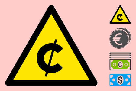 Vector cent flat warning sign. Triangle icon uses black and yellow colors. Symbol style is a flat cent attention sign on a pink background. Icons designed for problem signals, road signs,