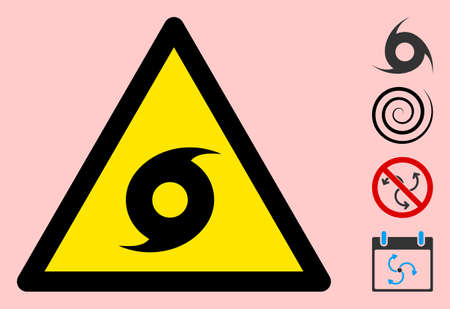 Vector cyclone flat warning sign. Triangle icon uses black and yellow colors. Symbol style is a flat cyclone hazard sign on a pink background. Icons designed for caution signals, road signs, Иллюстрация