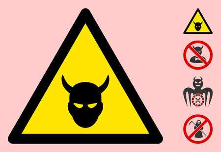 Vector devil head flat warning sign. Triangle icon uses black and yellow colors. Symbol style is a flat devil head attention sign on a pink background. Icons designed for caution signals, road signs,