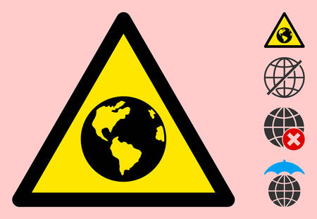 Vector Earth flat warning sign. Triangle icon uses black and yellow colors. Symbol style is a flat Earth hazard sign on a pink background. Icons designed for caution signals, road signs,