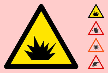Vector explosive flat warning sign. Triangle icon uses black and yellow colors. Symbol style is a flat explosive attention sign on a pink background. Icons designed for careful signals, road signs,