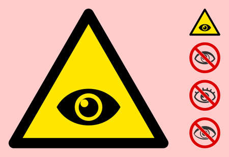 Vector eye flat warning sign. Triangle icon uses black and yellow colors. Symbol style is a flat eye hazard sign on a pink background. Icons designed for notice signals, road signs, safety posters. Banco de Imagens - 146528661