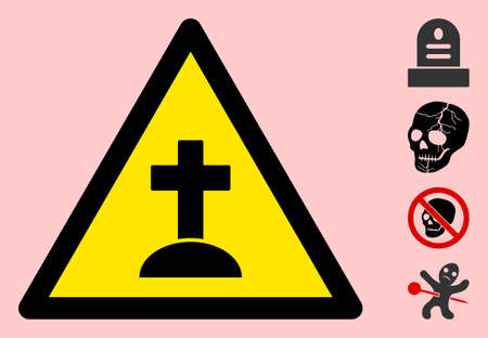 Vector grave flat warning sign. Triangle icon uses black and yellow colors. Symbol style is a flat grave hazard sign on a pink background. Icons designed for careful signals, road signs,
