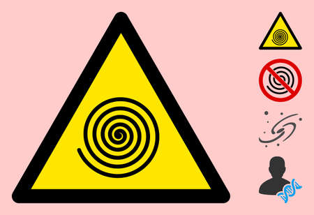 Vector hypnosys spiral flat warning sign. Triangle icon uses black and yellow colors. Symbol style is a flat hypnosys spiral hazard sign on a pink background. Icons designed for notice signals,