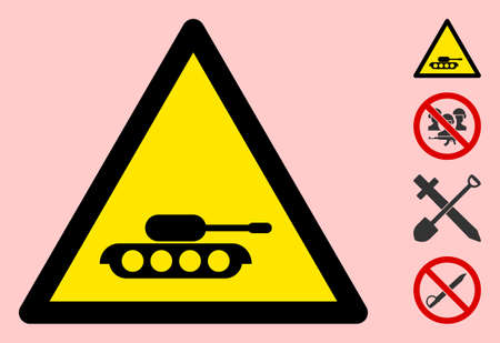 Vector military tank flat warning sign. Triangle icon uses black and yellow colors. Symbol style is a flat military tank hazard sign on a pink background. Icons designed for caution signals,