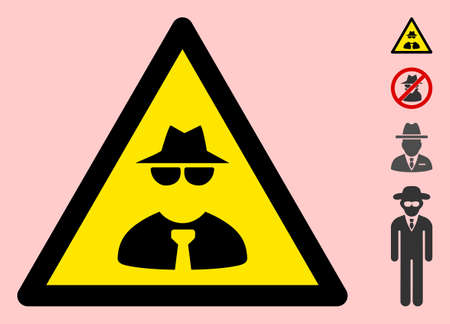Vector mafia flat warning sign. Triangle icon uses black and yellow colors. Symbol style is a flat mafia attention sign on a pink background. Icons designed for caution signals, road signs,