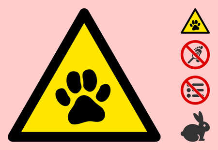 Vector paw footprint flat warning sign. Triangle icon uses black and yellow colors. Symbol style is a flat paw footprint attention sign on a pink background. Icons designed for caution signals, Vetores