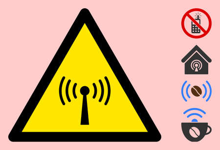 Vector radio transmitter flat warning sign. Triangle icon uses black and yellow colors. Symbol style is a flat radio transmitter hazard sign on a pink background. Icons designed for notice signals,
