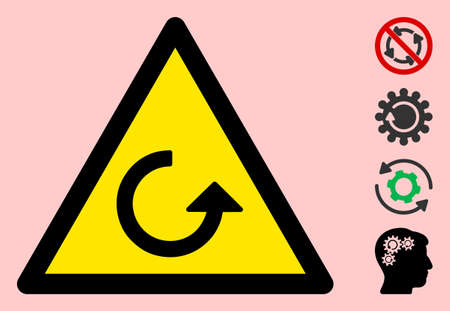Vector rotation flat warning sign. Triangle icon uses black and yellow colors. Symbol style is a flat rotation attention sign on a pink background. Icons designed for notice signals, road signs,