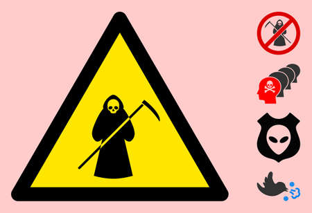 Vector scytheman flat warning sign. Triangle icon uses black and yellow colors. Symbol style is a flat scytheman hazard sign on a pink background. Icons designed for problem signals, road signs,