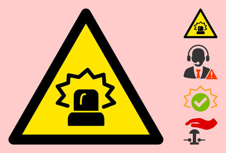 Vector siren flat warning sign. Triangle icon uses black and yellow colors. Symbol style is a flat siren attention sign on a pink background. Icons designed for notice signals, road signs,  イラスト・ベクター素材