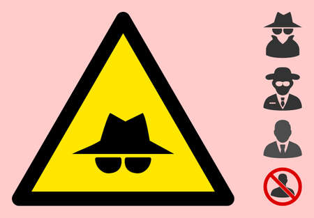 Vector spy flat warning sign. Triangle icon uses black and yellow colors. Symbol style is a flat spy hazard sign on a pink background. Icons designed for notice signals, road signs, safety agitation.