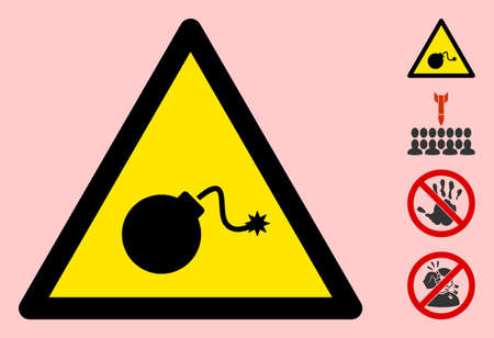 Vector TNT bomb flat warning sign. Triangle icon uses black and yellow colors. Symbol style is a flat TNT bomb attention sign on a pink background. Icons designed for caution signals, road signs,