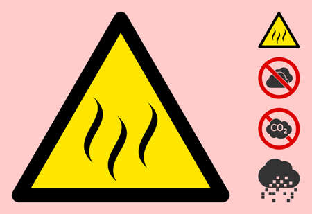 Vector vapour flat warning sign. Triangle icon uses black and yellow colors. Symbol style is a flat vapour hazard sign on a pink background. Icons designed for caution signals, road signs,
