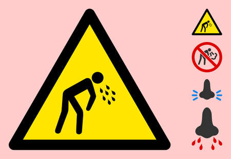 Vector vomit flat warning sign. Triangle icon uses black and yellow colors. Symbol style is a flat vomit attention sign on a pink background. Icons designed for notice signals, road signs,