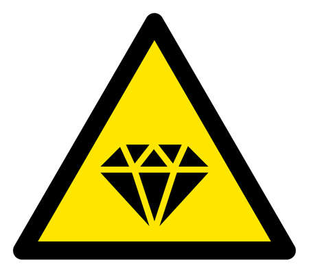 Raster diamond flat warning sign. Triangle icon uses black and yellow colors. Symbol style is a flat diamond hazard sign on a white background. Icons designed for problem signals, road signs,