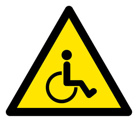 Raster disabled person flat warning sign. Triangle icon uses black and yellow colors. Symbol style is a flat disabled person hazard sign on a white background. Icons designed for notice signals,
