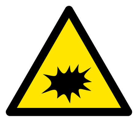 Raster explode flat warning sign. Triangle icon uses black and yellow colors. Symbol style is a flat explode hazard sign on a white background. Icons designed for caution signals, road signs,