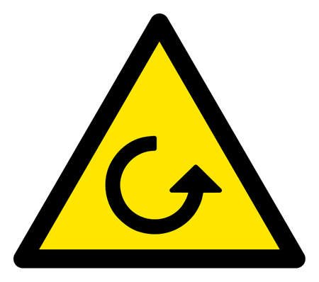 Raster rotation flat warning sign. Triangle icon uses black and yellow colors. Symbol style is a flat rotation hazard sign on a white background. Icons designed for problem signals, road signs, Stock Photo