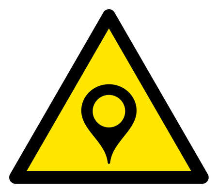 Raster map pointer flat warning sign. Triangle icon uses black and yellow colors. Symbol style is a flat map pointer attention sign on a white background. Icons designed for caution signals,