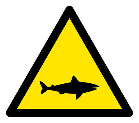 Raster shark flat warning sign. Triangle icon uses black and yellow colors. Symbol style is a flat shark hazard sign on a white background. Icons designed for caution signals, road signs,