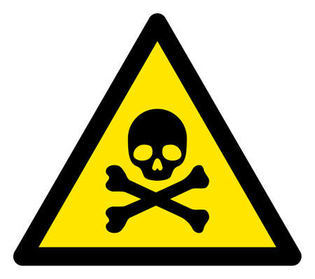 Raster skull and bones flat warning sign. Triangle icon uses black and yellow colors. Symbol style is a flat skull and bones hazard sign on a white background. Icons designed for careful signals, Banque d'images