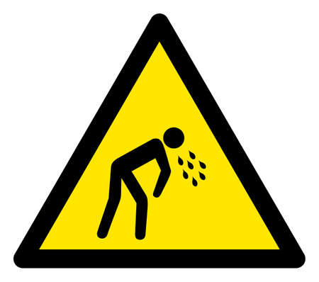 Raster vomit flat warning sign. Triangle icon uses black and yellow colors. Symbol style is a flat vomit attention sign on a white background. Icons designed for careful signals, road signs,
