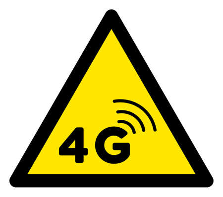 Raster 4G network flat warning sign. Triangle icon uses black and yellow colors. Symbol style is a flat 4G network attention sign on a white background. Icons designed for caution signals, road signs,