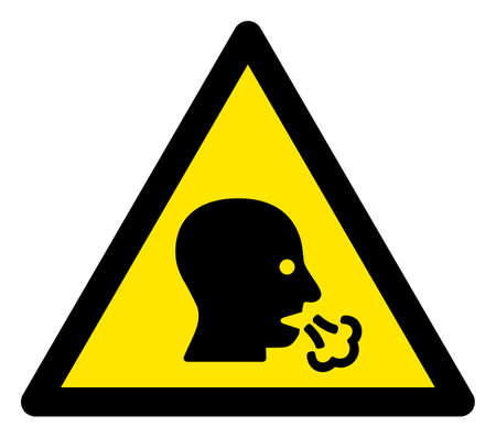 Raster coughing patient flat warning sign. Triangle icon uses black and yellow colors. Symbol style is a flat coughing patient attention sign on a white background. Icons designed for notice signals,