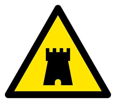 Panneau d'avertissement plat de tour de rempart raster. L'icône triangulaire utilise des couleurs noir et jaune. Le style de symbole est un signe d'attention de tour de rempart plat sur un fond blanc. Icônes conçues pour les signaux problématiques,