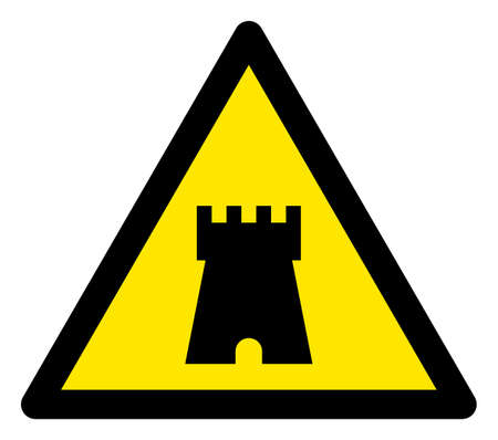 Raster bulwark tower flat warning sign. Triangle icon uses black and yellow colors. Symbol style is a flat bulwark tower attention sign on a white background. Icons designed for problem signals,