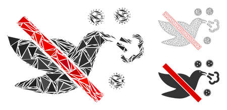 Triangle mosaic stop bird flu icon with mesh vector model. Stop bird flu mosaic icon of triangle items which have different sizes, and positions, and color tints.